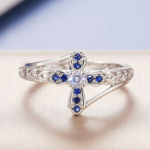 Gorgeous Gift 925 Silver Rings Women Cubic Zirconia Wedding Jewelry Size 6-10