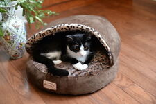 Armarkat Faux Suede Leopard Hooded Cat Kitten Pet Bed