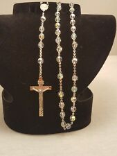 Vintage Estate Sterling Silver Rosary with Aurora Borialis beads, BeAuTiFuL!!!