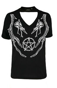Restyle Gothic T-Shirt Bluse Nugoth Witchy Witchcraft Choker Hexe Wings Flügel