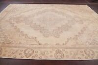 MUTED 9x11 Antique Distressed Oriental Area Rug Pale Peach Geometric HandKnotted