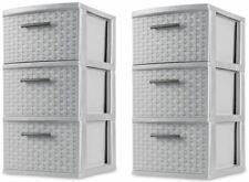 2 PACK 3 Drawer Storage Organizer Weave Cabinet Box Container Drawers Sterilite