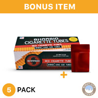 Shargio 5 Boxes of 200 Red Filtered Regular Cigarette Tubes King's+FREE cig Case