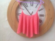 👀🌺NEW LOOK 👀 UK 8 (36) Lovely Coral Pink Crop Lace 👚Blouse Top  -🌺new WT