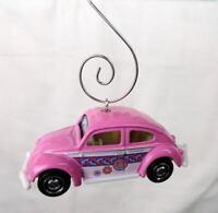 Volkswagen VW Beetle Bug Pink Car Custom Christmas Ornament 1/64 Diecast W/ Hook