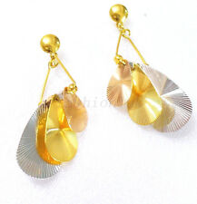 Women Big Girl Leafs Oriental Chandelier Earrings 24K Yellow & White Gold Plated