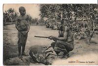 Carte postale Gabon chasseur de sanglier
