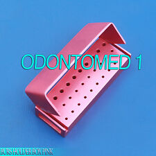 30 Holes Dental Aluminum Bur Burs Holder Box Autoclave Pink Color DN-2087