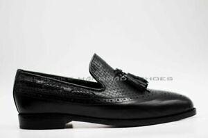 Mens shoes tassels in Corduroy Oxford Genuine Leather Black Handmade