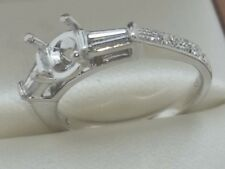 18k  White Gold Engagement Semi-Mount 0.44 tcw  Diamonds Ring For Round .65-.70
