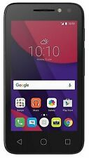 "Alcatel PIXI 4 4"" WVGA Touch (4GB ROM, 512MB RAM, 2MP VGA, 1.3GHz Quad, 1500mAh, 3G, Android) Smartphone (Unlocked) - Black (4034)"