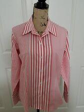 Liz Claiborne Woman's Orange & White Stripe Long Sleeve Shirt, Size 12