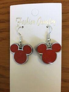 Disney Mickey Mouse Deluxe Earrings w/ .925 Sterling Silver Hooks New on Card