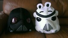 "2 Angry Birds Star Wars Plush Decor 16"" Darth Vader and Storm Trooper VERY LARGE"