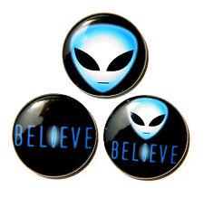 """3 BELIEVE IN ALIENS - Buttons Pinbacks Badges 1"""" Sci-Fi UFO"""