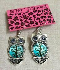 Owl Pierced Hook Earrings New Style! Betsy Johnson Designer Silver Cute Dangling