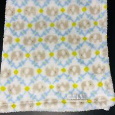 Blankets & Beyond Baby Blanket Gray Elephants Blue Tile Trellis Design Fleece