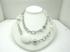 """Vintage White & Clear Chunky Beaded Necklace, 34"""", Silver Tone, 1970's-1980's"""