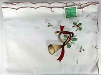 """Embroidered Holiday Christmas Tablecloth Oblong 66""""x104"""" French Horn Holly"""