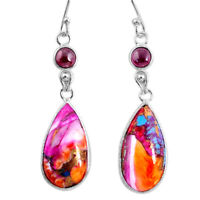 14.12cts Spiny Oyster Arizona Turquoise Garnet 925 Silver Dangle Earrings R62452