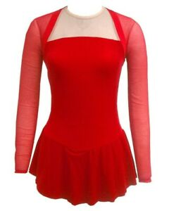 DEL ARBOUR D68 Red Long Sleeve Figure Skating Competition Dress Adult 4-6