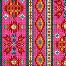 Beaded Vertical Stripe Native American Look Elizabeth Studio Tucson Pink Fabric