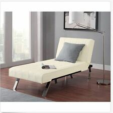 Futon Chaise Bed Lounger Home Furniture Leather Sleeper Sofa Couch Single Seater