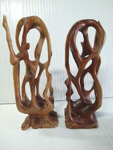 (2) Wooden Abstract Statue Sculpture Carved by Alicia Fernandez Pomares Cuba