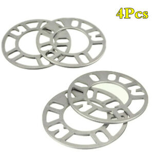 Fit 4/5 Stud Cars Universal 5mm Alloy Wheel Spacers Aluminum Shims Spacer 4Pcs