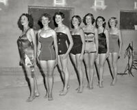 Vintage 1954 Photo - Seven Young Women Beauty Contestants in Bathing Suits