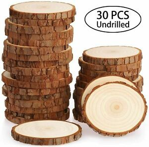 Fuyit Wood Slices 30 Pcs 7-8cm NO Hole Natural Unfinished Log Wooden Circles for