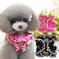 Small Dog Vest Harness & Leash Lead Set Lovely Cute Pet Cat Collar For Chihuahua