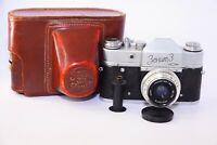"""RARE 1961 ZENIT-3 Soviet VINTAGE SLR 35 mm film camera  w/s lens """"Industar-50"""""""