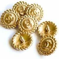Chanel CC logo buttons LOT SETof 5 button vintage Ø 15 mm button Gold stamped