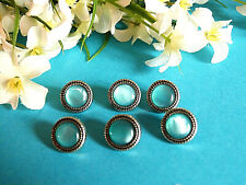 """1077/Stunning Buttons """" Topaz """" Blue And Silver Set Of 6 Buttons Ép. 1950"""