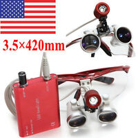 USA* Red Dental Loupes Surgical Medical Binocular 3.5X 420mm LED Head Light Lamp