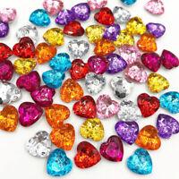 100 pcs Acrylic Rhinestone FlatBack Heart stones and crystals Clothing crafts