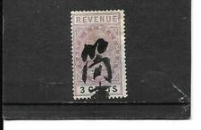 MALAY - STRAIGHT SETTLEMENTS QUEEN VICTORIA 3 CENT REVENUE / TAX STAMP