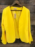 New Philosophy Women's Yellow Open Front Bell Sleeve Blazer Dress Jacket Size 8