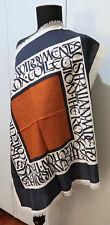 **Vintage 69cm Square Navy Blue,  Cream & Orange Printed Wool Scarf