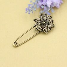 Metallic Geometric Floral Safety Pin Brooch Corsage Flower Lapel Boutonniere