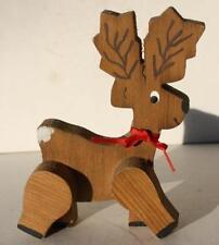 Reindeer Christmas Figurine Wooden w-Red Ribbon Handmade Unmarked Adorable-Cute