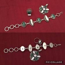 Parure bracciale ciondolo e anello argento 925 pietre verdi e perle scaramazze