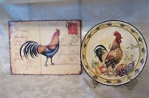 """Paris France Rooster Metal 14""""x10.5"""" Wall Art Post Card & Rooster Ceramic Plate"""