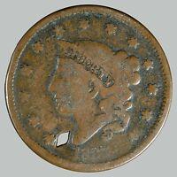 1837 1C N-? Coronet Head Cent, See Description -OLD HOLE -