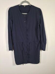 Uniqlo womens navy blue buttoned shift dress size S long sleeve modal blend