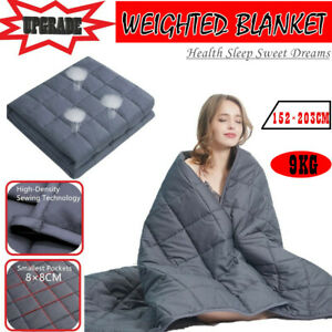 9KG Cotton Bedding Weighted Blanket Heavy Gravity Deep Relax Sleeping 152×203CM