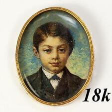 Antique French Portrait Miniature of a Young Boy, 18k Gold Frame, Impressionist
