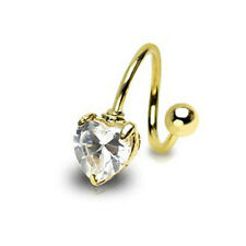 Gold Heart Twist Clear Gem Belly Ring Navel Naval (w643)