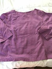 Women's CLICK  PURPLE BLUE CHECK  3/4 SLEEVE Top Tunic Size: X-LARGE R817T
